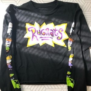 Rug rats long sleeve graphic crop top